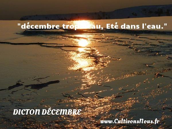 décembre trop beau, Eté dans l eau. Un dicton décembre DICTON DÉCEMBRE