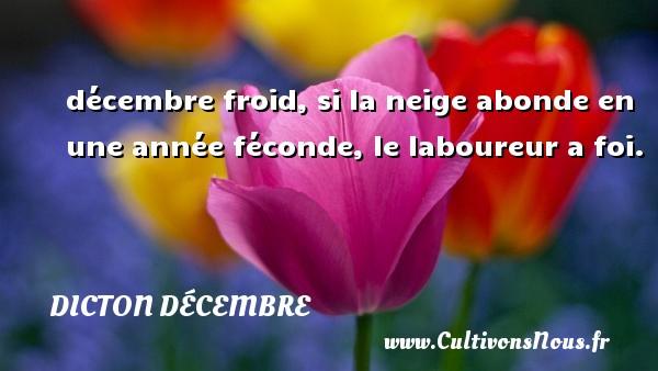 décembre froid, si la neige abonde en une année féconde, le laboureur a foi. Un dicton décembre DICTON DÉCEMBRE