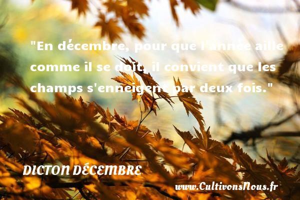 En décembre, pour que l année aille comme il se doit, il convient que les champs s enneigent par deux fois. Un dicton décembre DICTON DÉCEMBRE