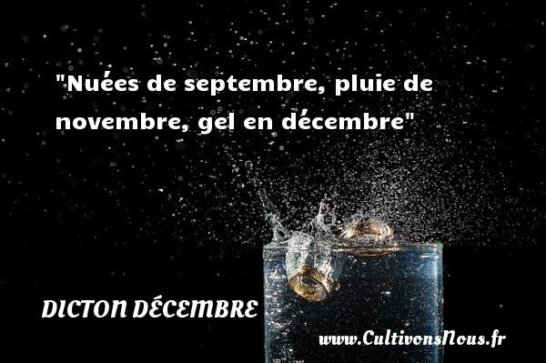 Nuées de septembre, pluie de novembre, gel en décembre Un dicton décembre DICTON DÉCEMBRE