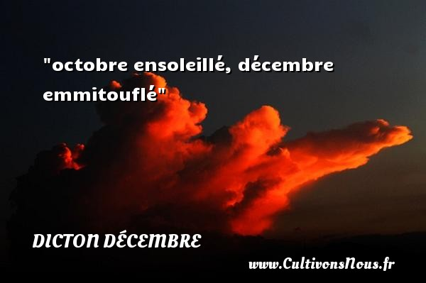 octobre ensoleillé, décembre emmitouflé Un dicton décembre DICTON DÉCEMBRE