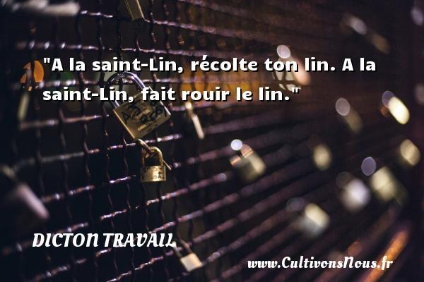 A la saint-Lin, récolte ton lin. A la saint-Lin, fait rouir le lin. Un dicton travail