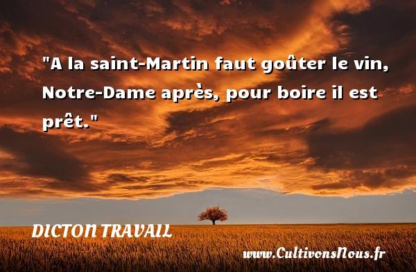 Dicton travail - A la saint-Martin faut goûter le vin, Notre-Dame après, pour boire il est prêt. Un dicton travail DICTON TRAVAIL