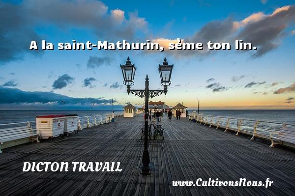 A la saint-Mathurin, sème ton lin. Un dicton travail