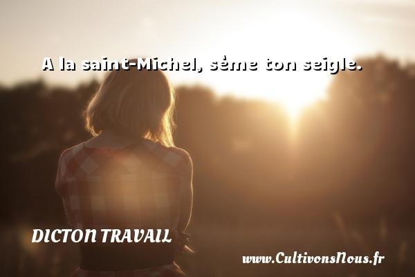 Dicton travail - A la saint-Michel, sème ton seigle. Un dicton travail DICTON TRAVAIL