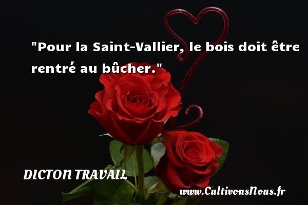 Pour la Saint-Vallier, le bois doit être rentré au bûcher. Un dicton travail