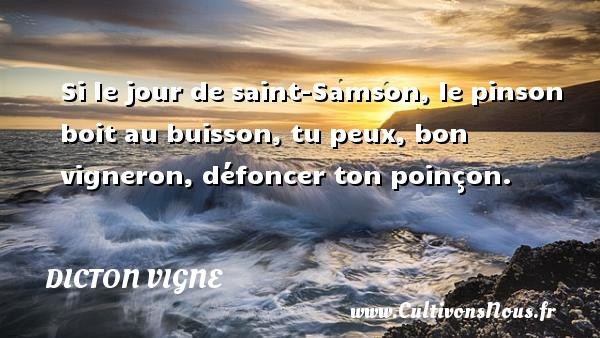 Si le jour de saint-Samson, le pinson boit au buisson, tu peux, bon vigneron, défoncer ton poinçon. Un dicton vigne