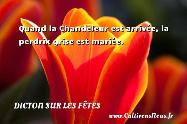 Dicton sur les fêtes - Quand la Chandeleur est arrivée, la perdrix grise est mariée. Un dicton sur les fêtes DICTON SUR LES FÊTES