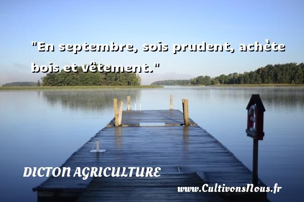 En septembre, sois prudent, achète bois et vêtement. Un dicton agriculture