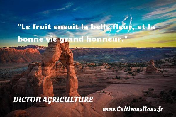 Le fruit ensuit la belle fleur, et la bonne vie grand honneur. Un dicton agriculture