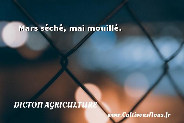 Dicton agriculture - Mars séché, mai mouillé. Un dicton agriculture DICTON AGRICULTURE