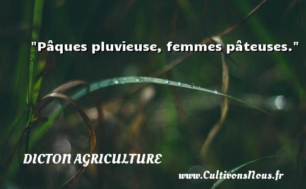 Pâques pluvieuse, femmes pâteuses. Un dicton agriculture DICTON AGRICULTURE