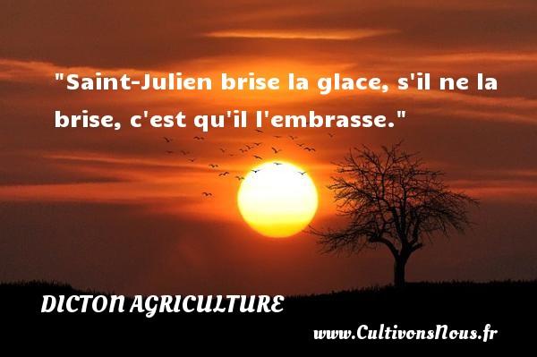 Saint-Julien brise la glace, s il ne la brise, c est qu il l embrasse. Un dicton agriculture