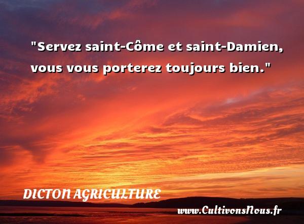 Servez saint-Côme et saint-Damien, vous vous porterez toujours bien. Un dicton agriculture