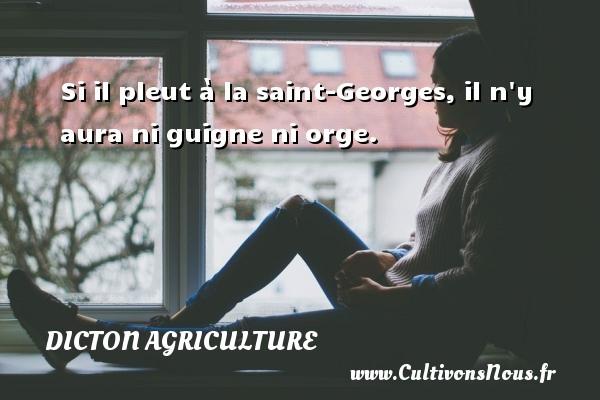 Dicton agriculture - Si il pleut à la saint-Georges, il n y aura ni guigne ni orge. Un dicton agriculture DICTON AGRICULTURE