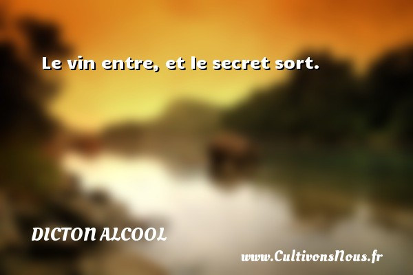 Le vin entre, et le secret sort. Un dicton alcool