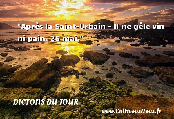 Après la Saint-Urbain - Il ne gèle vin ni pain. 25 mai. Un dicton français DICTONS DU JOUR - Dictons du jour