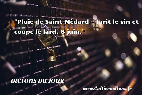 Pluie de Saint-Médard - Tarit le vin et coupe le lard. 8 juin. Un dicton français DICTONS DU JOUR - Dictons du jour