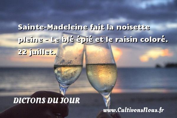 Dictons du jour - Sainte-Madeleine fait la noisette pleine - Le blé épié et le raisin coloré. 22 juillet. Un dicton français DICTONS DU JOUR