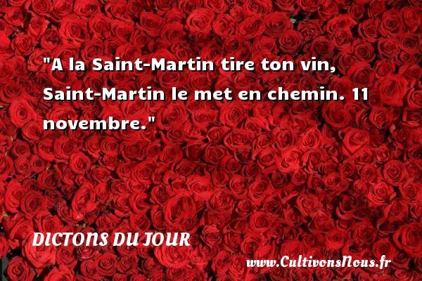 A la Saint-Martin tire ton vin, Saint-Martin le met en chemin. 11 novembre. Un dicton français DICTONS DU JOUR