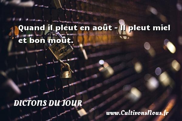 Dictons du jour - Quand il pleut en août - Il pleut miel et bon moût.   Un dicton français DICTONS DU JOUR