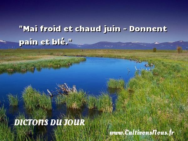 Mai froid et chaud juin - Donnent pain et blé. Un dicton français DICTONS DU JOUR