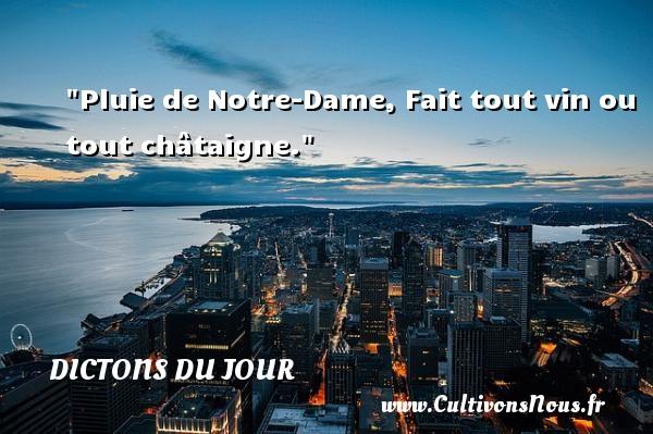 Pluie de Notre-Dame, Fait tout vin ou tout châtaigne. Un dicton français DICTONS DU JOUR