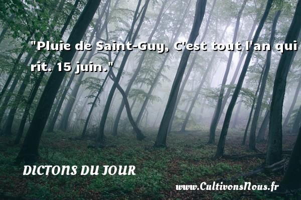 Pluie de Saint-Guy, C est tout l an qui rit. 15 juin. Un dicton français DICTONS DU JOUR