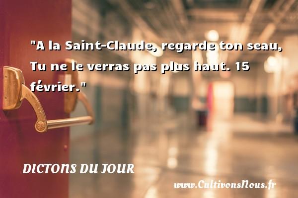 A la Saint-Claude, regarde ton seau, Tu ne le verras pas plus haut. 15 février. Un dicton français DICTONS DU JOUR