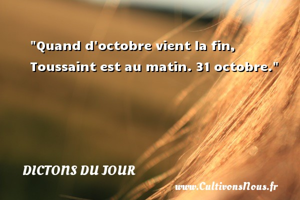 Dictons du jour - Quand d octobre vient la fin, Toussaint est au matin. 31 octobre. Un dicton français DICTONS DU JOUR