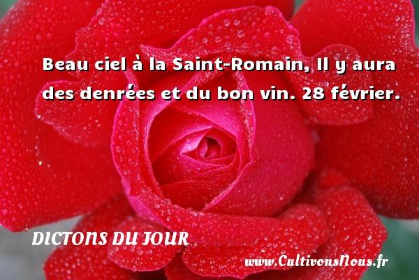 Beau ciel à la Saint-Romain, Il y aura des denrées et du bon vin.  28 février. Un dicton français DICTONS DU JOUR