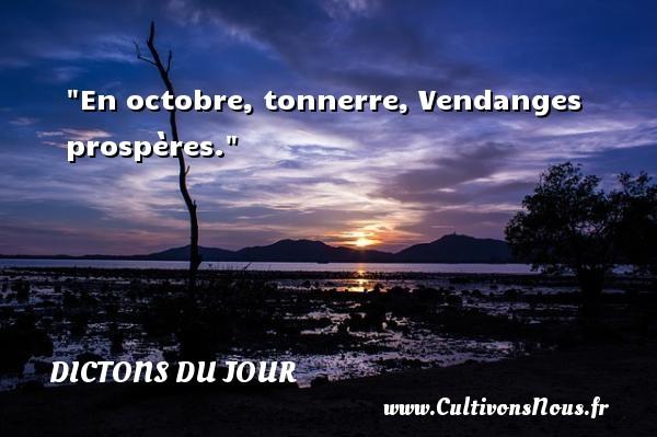 En octobre, tonnerre, Vendanges prospères. Un dicton français DICTONS DU JOUR
