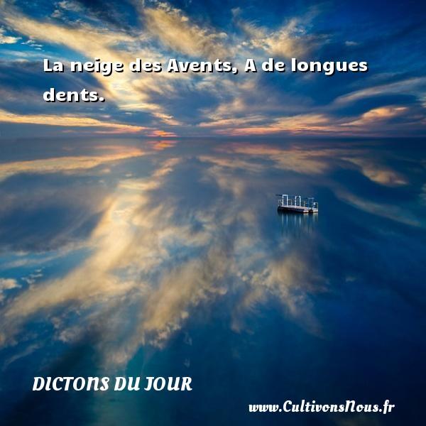 La neige des Avents, A de longues dents.   Un dicton français DICTONS DU JOUR