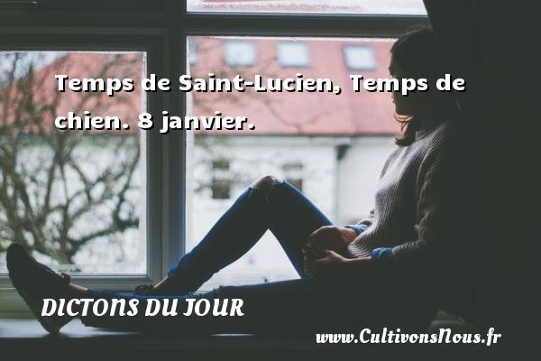 Dictons du jour - Temps de Saint-Lucien, Temps de chien. 8 janvier. Un dicton français DICTONS DU JOUR