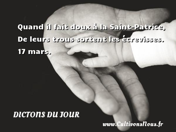 Quand il fait doux à la Saint-Patrice, De leurs trous sortent les écrevisses.  17 mars. Un dicton français DICTONS DU JOUR - Dictons du jour