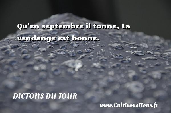 Qu en septembre il tonne, La vendange est bonne.   Un dicton français DICTONS DU JOUR