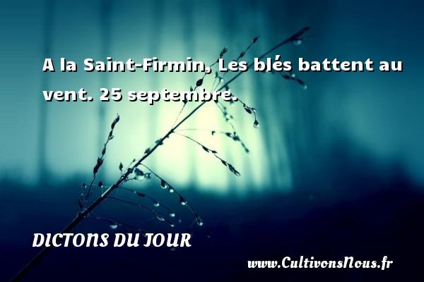 A la Saint-Firmin, Les blés battent au vent.  25 septembre. Un dicton français DICTONS DU JOUR