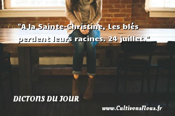 A la Sainte-Christine, Les blés perdent leurs racines. 24 juillet. Un dicton français DICTONS DU JOUR