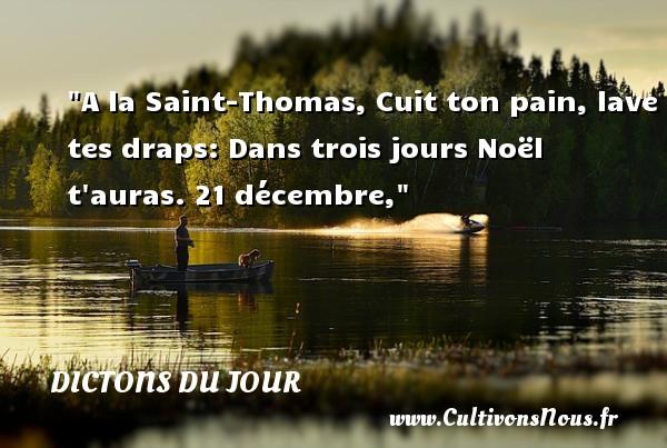 Dictons du jour - Citation Noël - A la Saint-Thomas, Cuit ton pain, lave tes draps: Dans trois jours Noël t auras.  21 décembre, Un dicton sur Noël DICTONS DU JOUR