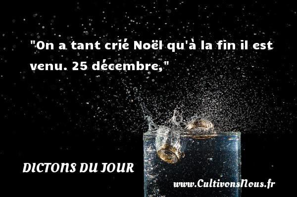 Dictons du jour - Citation Noël - On a tant crié Noël qu à la fin il est venu.  25 décembre, Un dicton sur Noël DICTONS DU JOUR