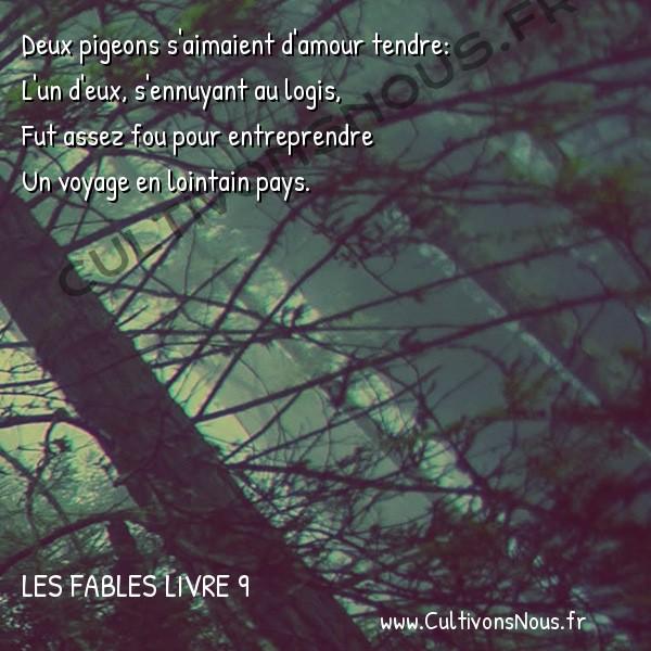 Fables Jean de la Fontaine - Les fables Livre 9 - Les deux Pigeons -   Deux pigeons s'aimaient d'amour tendre: L'un d'eux, s'ennuyant au logis,