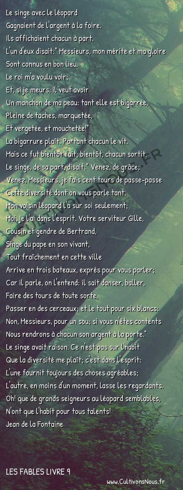 Fables Jean de la Fontaine - Les fables Livre 9 - Le Singe et le Léopard -   Le singe avec le léopard Gagnaient de l'argent à la foire.