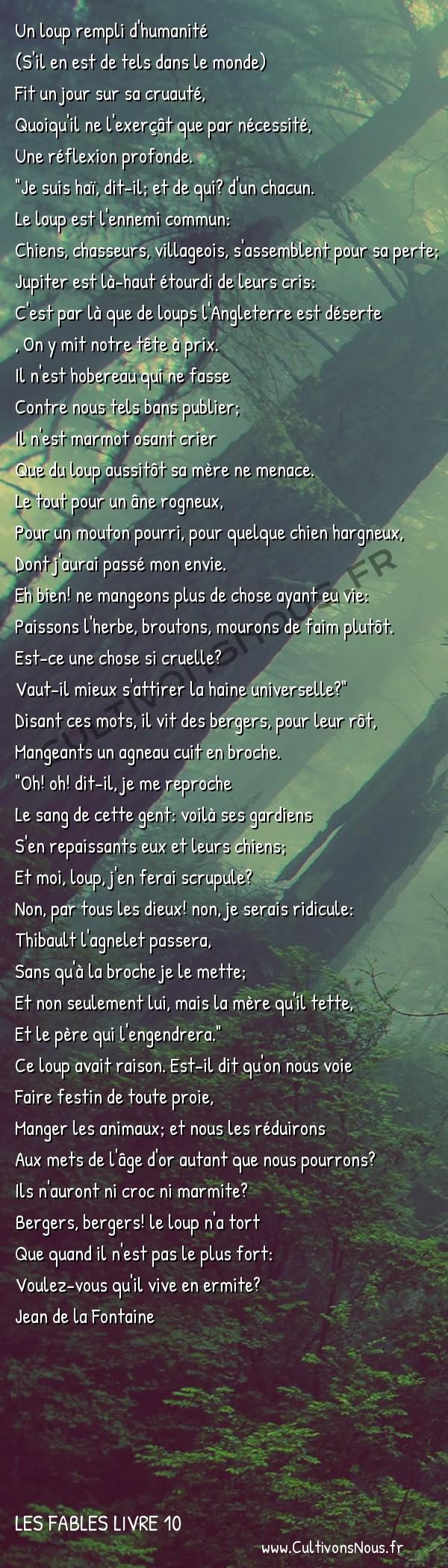 Fables Jean de la Fontaine - Les fables Livre 10 - Le Loup et les Bergers -   Un loup rempli d'humanité (S'il en est de tels dans le monde)