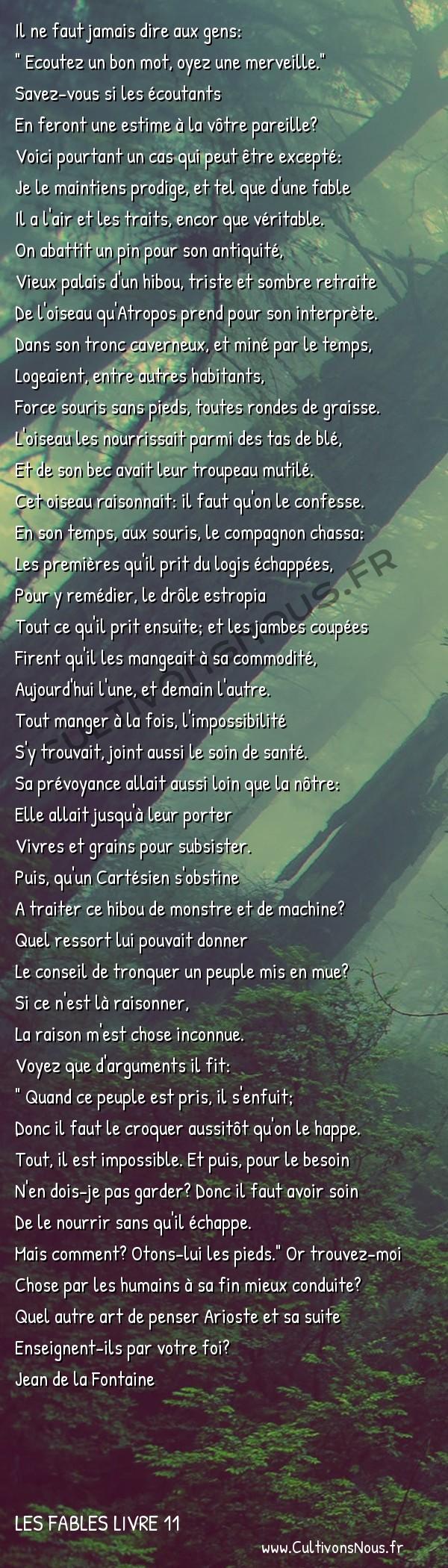 Fables Jean de la Fontaine - Les fables Livre 11 - Les Souris et le Chat-huant -   Il ne faut jamais dire aux gens: