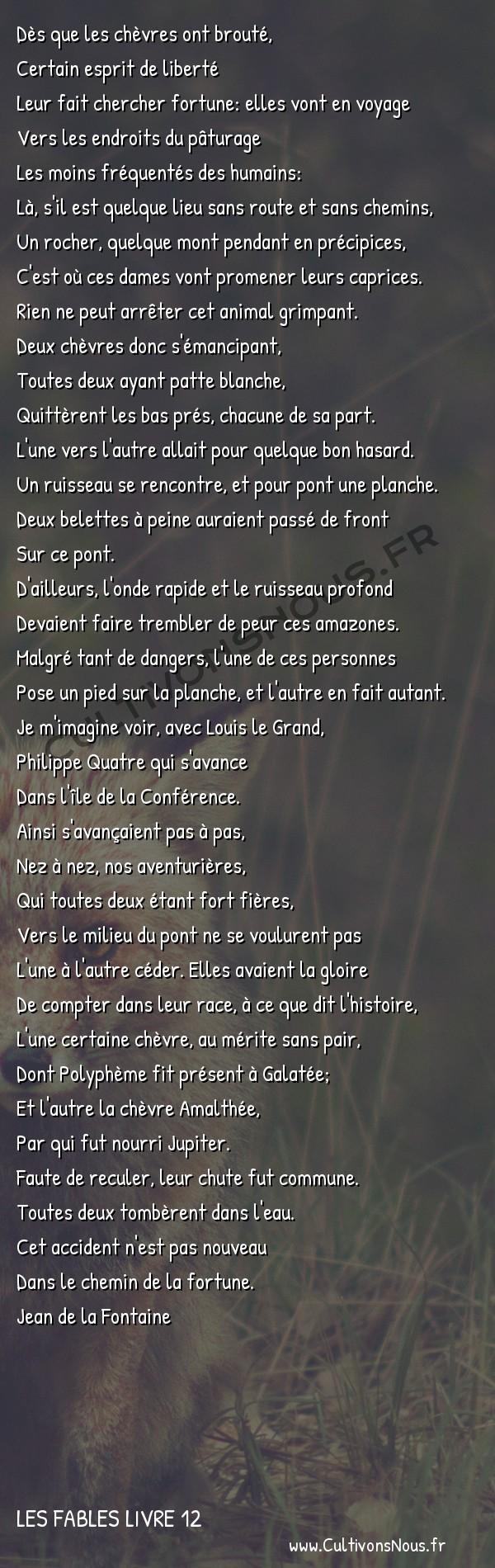 Fables Jean de la Fontaine - Les fables Livre 12 - Les deux chèvres -   Dès que les chèvres ont brouté, Certain esprit de liberté