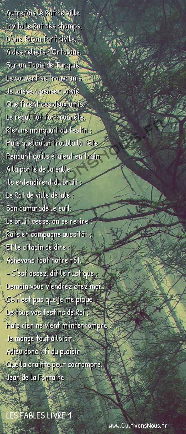 Fables Jean de la Fontaine - Les fables Livre 1 - Le Rat de ville et le Rat des champs -   Autrefois le Rat de ville Invita le Rat des champs,
