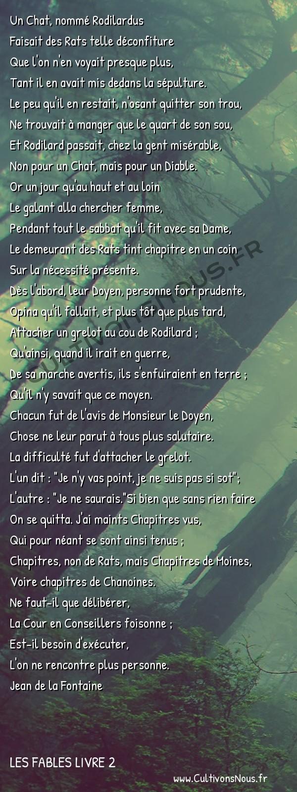 Fables Jean de la Fontaine - Les fables Livre 2 - Conseil tenu par les Rats -   Un Chat, nommé Rodilardus Faisait des Rats telle déconfiture