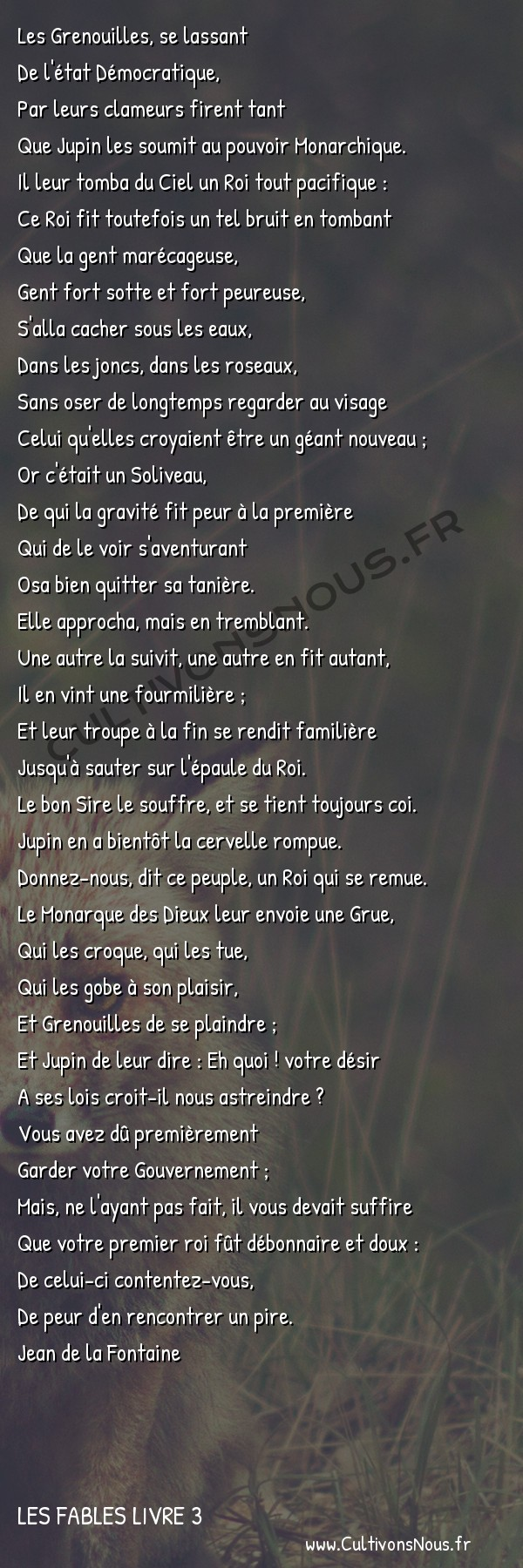 Fables Jean de la Fontaine - Les fables Livre 3 - Les Grenouilles qui demandent un Roi -   Les Grenouilles, se lassant De l'état Démocratique,
