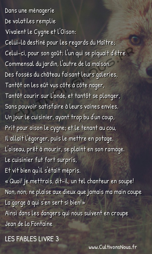 Fables Jean de la Fontaine - Les fables Livre 3 - Le Cygne et le Cuisinier -   Dans une ménagerie De volatiles remplie