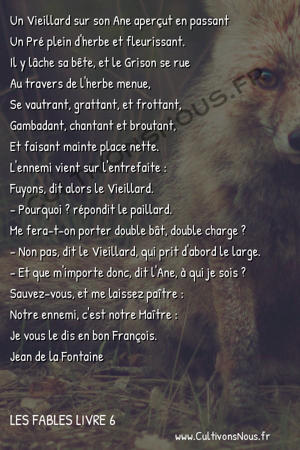 Fables Jean de la Fontaine - Les fables Livre 6 - Le Vieillard et l'Ane -   Un Vieillard sur son Ane aperçut en passant Un Pré plein d'herbe et fleurissant.